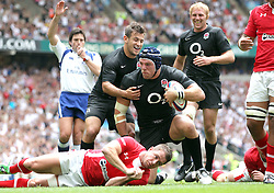 © Andrew Fosker / Seconds Left Images 2011 - England's James Haskell  celebrates his  try with Danny Care - England's Lewis Moody (Captain)  is right  England v Wales  - Investec International - 06/08/2011 - Twickenham Stadium  - London - All rights reserved..