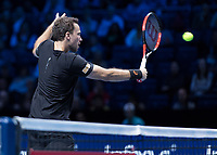 Tennis - 2017 Nitto ATP Finals at The O2 - Day Two<br /> <br /> Mens Doubles: Group Woodbridge/Woodforde: Jamie Murray (Great Britain) & Bruno Soares (Brazil) Vs Bob Bryan (United States) & Mike Bryan (United States)<br /> <br /> Bruno Soares (Brazil) with a back hand return close to the net at the O2 Arena<br /> <br /> COLORSPORT/DANIEL BEARHAM
