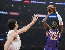 November 28, 2018 - Los Angeles, California, U.S - Deandre Ayton #22 of the Phoenix Suns takes a shot over Boban Marjanovic #51 of the Los Angeles Clippers during their NBA game on Wednesday November 28, 2018 at the Staples Center in Los Angeles, California. Clippers vs Suns. (Credit Image: © Prensa Internacional via ZUMA Wire)