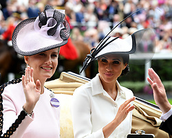 The Countess of Wessex and the Duchess of Sussex during day one of Royal Ascot at Ascot Racecourse