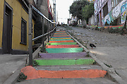 Colorful stairs of a hilltop walkway in Cerro Alegre, Valparaiso.