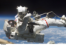 April 16, 2002 - Earth Atmosphere - Astronaut Jerry L. Ross, STS-110 mission specialist, anchored to the mobile foot restraint at the end of the International Space Station's (ISS) Canadarm2, works in tandem with astronaut Lee M. E. Morin (out of frame), mission specialist, during the fourth and final scheduled session of extravehicular activity (EVA) for the STS-110 mission. The major task was the installation of a beam, which is called the Airlock Spur, between the Quest Airlock and the S0 (S-zero) Truss. The spur will be used by spacewalkers in the future as a path from the airlock to the truss. Ross and Morin also installed handrails onto the S0, partially assembled a platform, installed two floodlights and performed several other tasks preparing for upcoming assembly missions. (Credit Image: © NASA/ZUMA Wire/ZUMAPRESS.com)