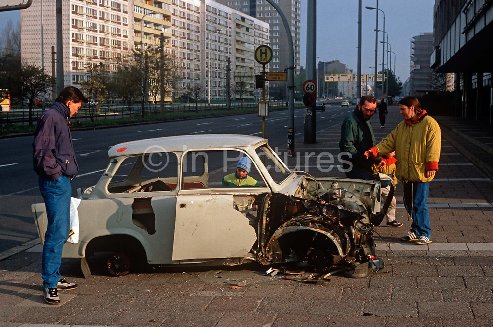 Months after the fall of the Berlin wall and the collapse of the communist GDR state the German Democratic Republic, the wreckage of a Trabant car still remains, on 15th June 1990, in Berlin, Eastern Germany.