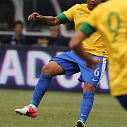 Marcelo, Brazil, in action during the Brazil V Argentina International Football Friendly match at MetLife Stadium, East Rutherford, New Jersey, USA. 9th June 2012. Photo Tim Clayton
