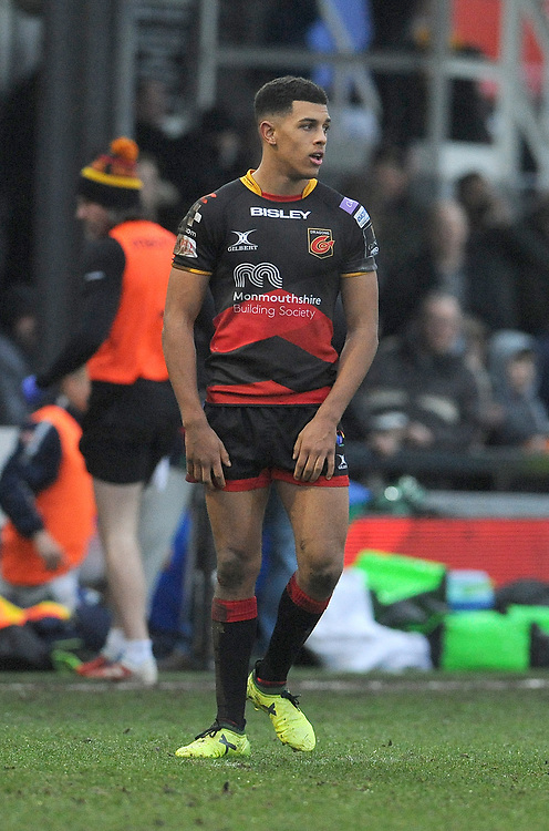 Dragons' Rio Dyer in action during todays match<br /> <br /> Photographer Ian Cook/CameraSport<br /> <br /> Guinness Pro14 Round 15 - Dragons v Benetton Rugby - Sunday 18th February 2018 - Rodney Parade - Newport<br /> <br /> World Copyright © 2018 CameraSport. All rights reserved. 43 Linden Ave. Countesthorpe. Leicester. England. LE8 5PG - Tel: +44 (0) 116 277 4147 - admin@camerasport.com - www.camerasport.com