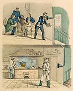 Waiter in restaurant speaking to kitchen through a speaking tube. Print published Wurtemberg c1850
