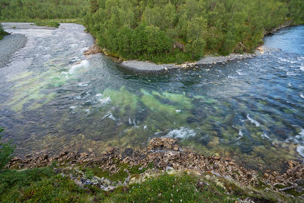 Mountain river, Kungsleden, Abisko national park, Lapland, Norrbotten, Sweden