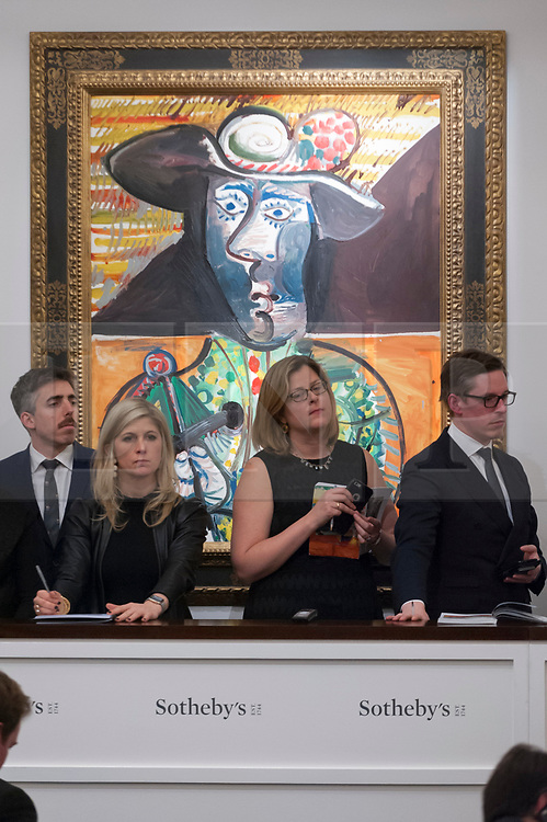 © Licensed to London News Pictures. 28/02/2018. LONDON, UK. ''Le Matador'' by Pablo Picasso, (Est. £14-18m) sold for a hammer price of £14.5m at the evening sale of Modern, Surrealist and Contemporary art at Sotheby's in New Bond Street.  Photo credit: Stephen Chung/LNP