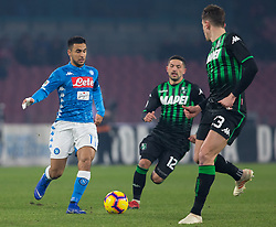 January 13, 2019 - Naples, Campania, Italy - Ounas (L) of SSC Napoli and Sensi (R) of Sassuolo are seen in action during the Serie A football match between SSC Napoli vs US Sassuolo at San Paolo Stadium. (Credit Image: © Ernesto Vicinanza/SOPA Images via ZUMA Wire)