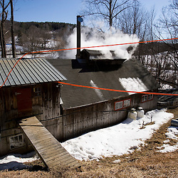 Steam rises from the sugar house at Kendron Sugar Maker in South Woodstock, Vermont.  A sap tank is in the back of the pick-up truck.