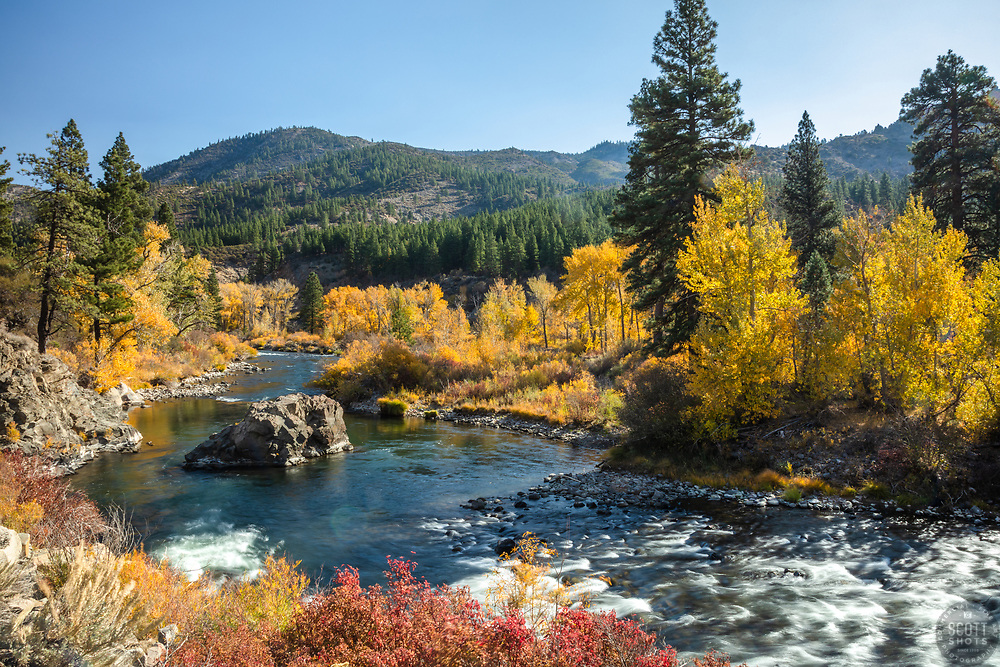 """""""Truckee River in Autumn 32"""" - Photograph of the Truckee River in the fall, shot off of Hwy 80, in California, just west of Nevada."""