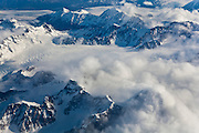 Aerial view of the Chugach Mountains outside Anchorage, Alaska.