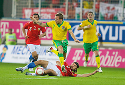 TEPLICE, CZECH REPUBLIC - SATURDAY, SEPTEMBER 2nd , 2006: Wales' Craig Bellamy and Czech Republic's Thomas Ujfalusi during the opening UEFA Euro 2008 Group D qualifying match at the Na Stinadlech Stadium. (Pic by David Rawcliffe/Propaganda)