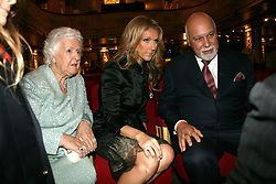 File Photo : Celine Dion with her husband Rene Angelil and her mother attend the unveiling of their wax figure at the Musee Grevin in Paris, France, on May 22, 2008. Angelil, the husband and former manager of Celine Dion, has died aged 73, the singer has announced.<br /> Mr Angelil, who Dion married in 1994 and with whom she has three children, died at home in Las Vegas from cancer. Dion took two career breaks to look after Mr Angelil after he was diagnosed with throat cancer, first in 2000. Photo by ABACAPRESS.COM