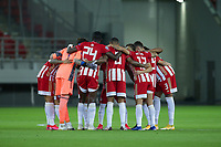PIRAEUS, GREECE - OCTOBER 21: Players of Olympiacos FC prior to the UEFA Champions League Group C stage match between Olympiacos FC and Olympique de Marseille at Karaiskakis Stadium on October 21, 2020 in Piraeus, Greece. (Photo by MB Media)