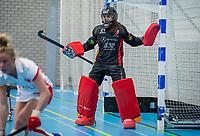 ROTTERDAM - keeper Rachelle de Groot (OR) ,  dames Hurley-Oranje Rood, Hurley plaatst zich voor halve finales NK  ,hoofdklasse competitie  zaalhockey.   COPYRIGHT  KOEN SUYK