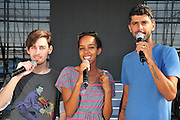 Kochav Nolad (A Star is Born) The Israeli Version of American Idol. The three finalist (left to right) David Lavi, Hagit Yasu (winner) and Liron Ramati, July 2011