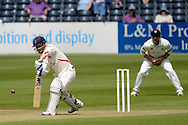 Alex Davies blocks the ball during the LV County Championship Div 2 match between Gloucestershire County Cricket Club and Lancashire County Cricket Club at the Bristol County Ground, Bristol, United Kingdom on 7 June 2015. Photo by Alan Franklin.