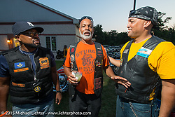 (L>R) Kendell (President of Banderleros MC), Harold (Dogg Pound MC) and Woody Davis at the Club meetup at the American Legion in Catonsville, MD with the Flying Eagles MC (founded 1950). USA. August 16, 2015.  Photography ©2015 Michael Lichter.