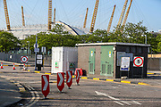 A general view looking at the entry of o2 testing Centre for COVID-19 at a drive-through testing centre in a car park in Greenwich, London, Monday, May 4, 2020. <br /> The UK continues in lockdown to help curb the spread of the coronavirus, which has impacted on nations around the globe imposing self-isolation and exercising social distancing when people move from their homes. (Photo/ Vudi Xhymshiti)