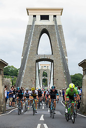 Riders make there way over the Clifton suspension Bridge - Mandatory by-line: Alex James/JMP - 10/09/2016 - CYCLING - Bristol stage of the Tour of Britain