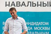 Moscow, Russia, 13/08/2013.<br /> Russian opposition blogger and political activist Alexei Navalny speaking to voters in a residential apartment square as he campaigns as a candidate for Moscow Mayor in elections scheduled for September 8th.