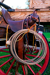 saddle and rope sitting on a wagon wheel