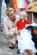 Hair to the throne! Gorgeous Prince Jacques shows he shares his mother's hairstyle as Princess Charlene of Monaco proudly shows him off at the family's annual picnic <br /> <br /> She usually has all eyes on her with her glamorous style, but it was Princess Charlene of Monaco's son Jacques who stole the show at a popular annual picnic event.<br /> The young prince, who turns two in December, showed that he clearly took after his mother with his blonde locks.<br /> Charlene, 38, wore a stylish embroidered cream maxi-dress for the occasion, teamed with a pair of black court shoes. <br /> <br /> She completed the sophisticated look with a dash of red lipstick and a pair of pearl earrings. <br /> Meanwhile her son, who is the heir apparent to the throne, wore a red polo shirt and white trousers for the picnic<br /> <br /> The popular event, which is known as 'Monaco's picnic' is held every year in Le Parc Princesse Antoinette.<br /> Jacques was born in December 2014, two minutes after his twin sister Princess Gabriella. <br /> ©Exclusivepix Media