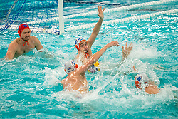 Eelco Wagenaar, Pascal Janssen of the Netherlands in action against Romania during the Olympic qualifying tournament. The Dutch water polo players are on the hunt for a starting ticket for the Olympic Games on February 16, 2021 in Rotterdam