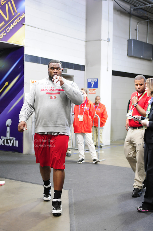 2/3/13 New Orleans LA.-NFL San Francisco 49er's players take the field for pre game warm up at the Mercedes Benz Super Dome. The Francisco 49er's take on the Baltimore Ravens Sunday Feb. 3, 2013Photo©Suzi Altma