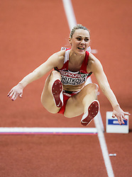 Veranika Shutkova of Belarus competes in the Long Jump Women Qualification on day two of the 2017 European Athletics Indoor Championships at the Kombank Arena on March 4, 2017 in Belgrade, Serbia. Photo by Vid Ponikvar / Sportida
