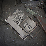 August 11, 2012 - Tarafat, Aleppo, Syria: School material is seen laying among the rubble in Jamal-Jamal school in Tarafat village, near Aleppo. The Syrian Army warplanes have recently bombed residential areas and the only two schools in the village, with 200 kilogram bombs. (Paulo Nunes dos Santos/Polaris)