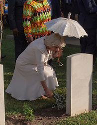 The Duchess of Cornwall places a posy of flowers at the grave of Private Kofi Owusu from the gold Coast regiment, during a visit to the Commonwealth War Graves in Accra, Ghana, on day three of the royal couple's trip to west Africa.