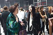 SUSY MENKES; LIMI YAMAMOTO, Yohji Yamamoto exhibition opening. V & A Museum. London. 10 March 2011. -DO NOT ARCHIVE-© Copyright Photograph by Dafydd Jones. 248 Clapham Rd. London SW9 0PZ. Tel 0207 820 0771. www.dafjones.com.