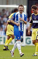 Photo: Olly Greenwood.<br />Colchester United v Derby County. Coca Cola Championship. 26/08/2006. Colchester Uniteds Jamie Cureton celebrates his hat trick.