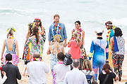 """The Duke and Duchess of Sussex visit Bondi Beach,Sydney. Prince Harry and Meghan Markle spent time with One Wave, an inititiative that engages with mental health in a fun and engaging way. The couple were both here to take part in the """" Fluro Friday"""" session."""