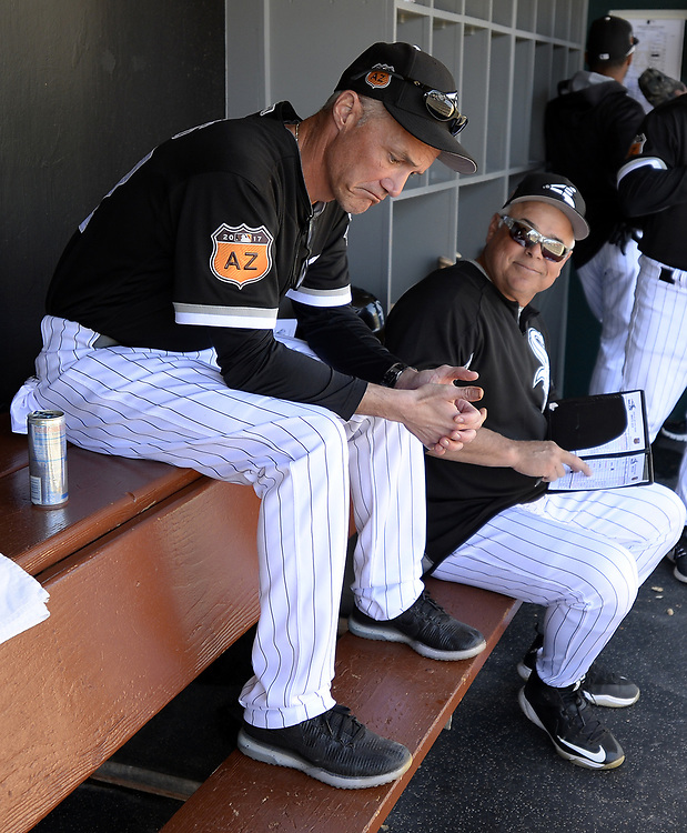 GLENDALE, ARIZONA - MARCH 06:  Manager Rick Renteria #17 interacts with Joe McEwing #47 of the Chicago White Sox prior to the spring training game against the San Diego Padres on March 6, 2017 at Camelback Ranch in Glendale Arizona.  (Photo by Ron Vesely)   Subject:  Joe McEwing; Rick Renteria