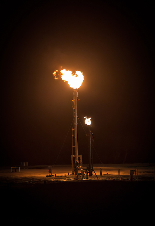 October 14, 2013, Hobson, Texas in Karnes County, a flare at tank batter facility run by Marathon in the Eagle Ford Shale region where hydraulic fracturing is producing more oil then anywhere else in the country.