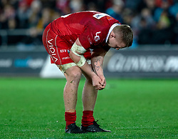 James Davies of Scarlets looks dejected<br /> <br /> Photographer Simon King/Replay Images<br /> <br /> Guinness PRO14 Round 11 - Ospreys v Scarlets - Saturday 22nd December 2018 - Liberty Stadium - Swansea<br /> <br /> World Copyright © Replay Images . All rights reserved. info@replayimages.co.uk - http://replayimages.co.uk