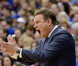 Feb 16, 2019; Lawrence, KS, USA; Kansas Jayhawks head coach Bill Self reacts to play during the first half against the West Virginia Mountaineers at Allen Fieldhouse. Mandatory Credit: Denny Medley-USA TODAY Sports