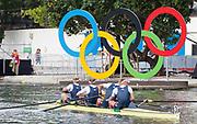 "Rio de Janeiro. BRAZIL.  GBR M4-, Bow Alex GREGORY, Mohamed SBIHI, George NASH and Constantine LOULOUDIS. 2016 Olympic Rowing Regatta. Lagoa Stadium,<br /> Copacabana,  ""Olympic Summer Games""<br /> Rodrigo de Freitas Lagoon, Lagoa. Local Time 09:47:57  Thursday  11/08/2016 <br /> [Mandatory Credit; Peter SPURRIER/Intersport Images]"