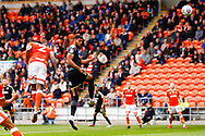 Wimbledon forward Jake Jervis (10), on loan from Luton Town, with a header towards goal during the EFL Sky Bet League 1 match between Blackpool and AFC Wimbledon at Bloomfield Road, Blackpool, England on 20 October 2018.