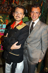 MATTHEW WILLIAMSON and JOSEPH VELOSA at a party to celebrate the launch of the new Matthew Williamson fragrance held at Harvey Nichols, Knightsbridge, London on 14th June 2005.<br />