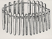 A set of 24 touch needles. These were made of the purest obtainable gold and each was alloyed with different known amounts of silver and copper, or of both. The sample of gold to be tested was rubbed on a hard dark stone, and the colour and thickness of the trace left was matched by one of the touch needs and the value of the sample obtained. From 'De re metallica', by Agricola, pseudonym of Georg Bauer (Basle, 1556).  Woodcut.