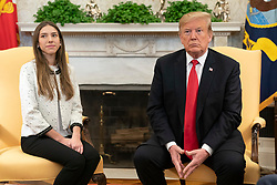 President Donald J. trump meets with Fabiana Rosales de Guaido, the First Lady of the Bolivarian Republic of Venezuela, Wednesday, March 27, 2019, in the Oval Office of the White House. (Official White House Photo by Shealah Craighead)
