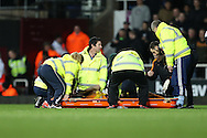 caption correction : Bjorn Sigurdarson of Wolverhampton Wanderers is stretched off with an injury. The Emirates FA cup, 3rd round match, West Ham Utd v Wolverhampton Wanderers at the Boleyn Ground, Upton Park  in London on Saturday 9th January 2016.<br /> pic by John Patrick Fletcher, Andrew Orchard sports photography.