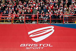 Bristol Sport branding in front of the Bristol City fans - Photo mandatory by-line: Rogan Thomson/JMP - 07966 386802 - 25/01/2015 - SPORT - FOOTBALL - Bristol, England - Ashton Gate Stadium - Bristol City v West Ham United - FA Cup Fourth Round Proper.