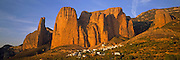 SPAIN, NORTH, ARAGON Mallos ('ninepins') de Riglos, dramatic cliffs above the tiny village of Riglos, north of Huesca