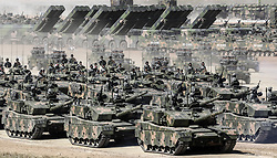 July 30, 2017 - Zhurihe, China - A military parade is held to celebrate the 90th anniversary of the founding of the Chinese People's Liberation Army (PLA) at Zhurihe training base in north China's Inner Mongolia Autonomous Region. (Credit Image: © Yin Gang/Xinhua via ZUMA Wire)
