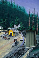 Painted mural tribute to logging era downtown Boulder Creek, Santa Cruz Mountains, California